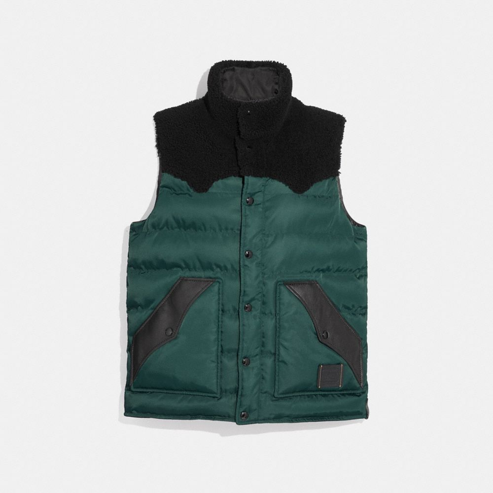 Coach Lightweight Printed Nylon Vest With Shearling