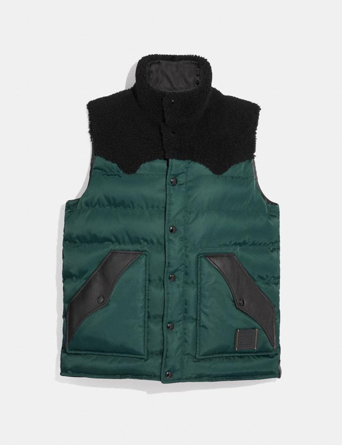 Coach Quilted Vest With Shearling Emerald