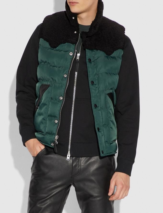 Coach Quilted Vest With Shearling Emerald  Alternate View 1