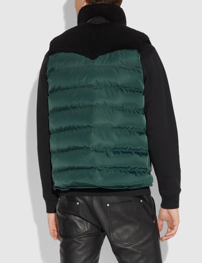 Coach Quilted Vest With Shearling Emerald  Alternate View 2