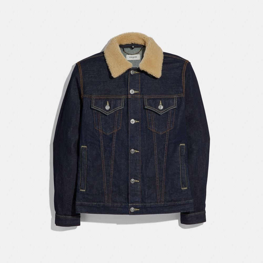 DENIM JACKET WITH SHEARLING COLLAR