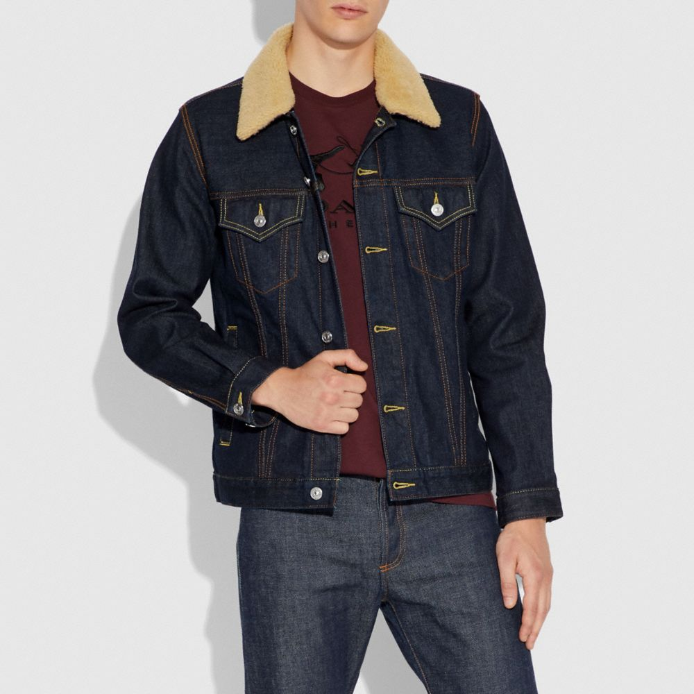 Coach Denim Jacket With Shearling Collar Alternate View 1