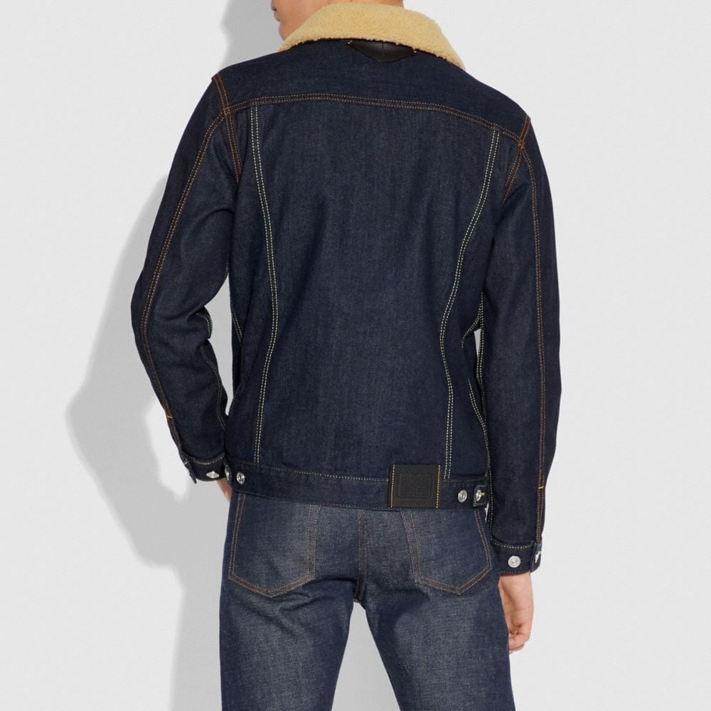Coach Denim Jacket With Shearling Collar Alternate View 3