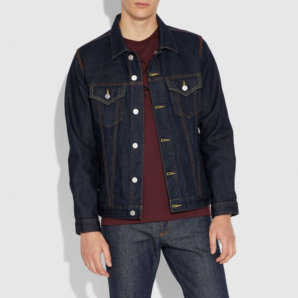 Coach Denim Jacket With Shearling Collar Alternate View 4