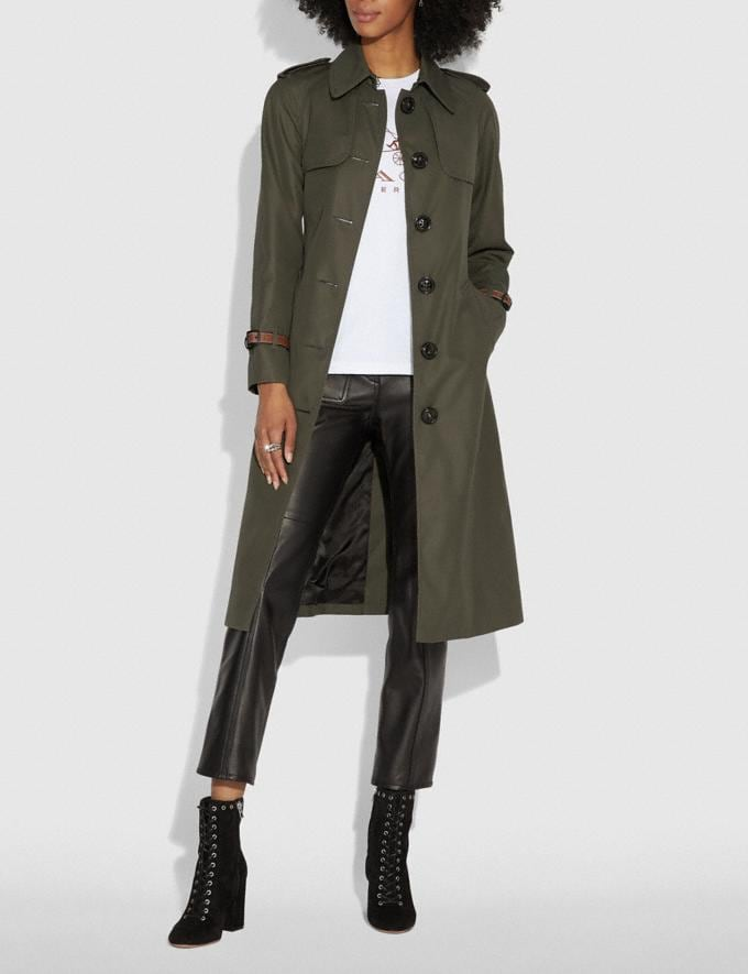 Coach Cotton Trench Coat Military  Alternate View 1