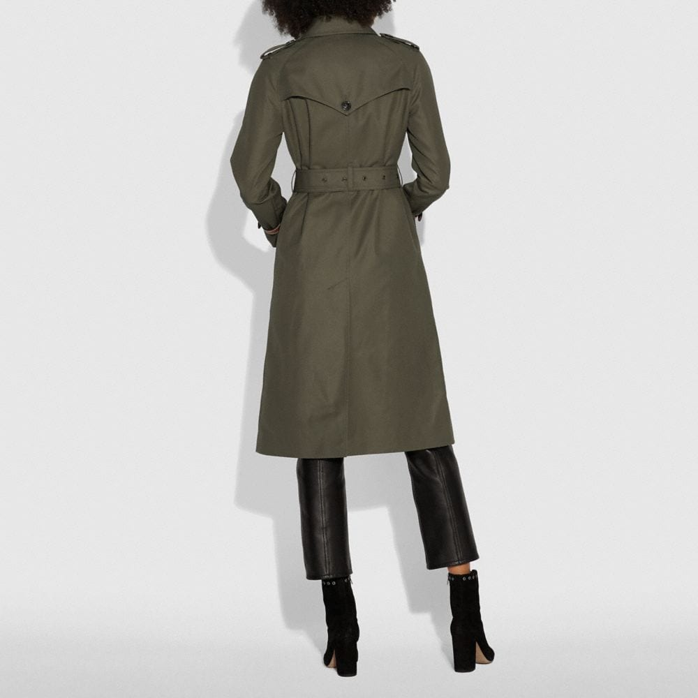 Coach Cotton Trench Coat Alternate View 3
