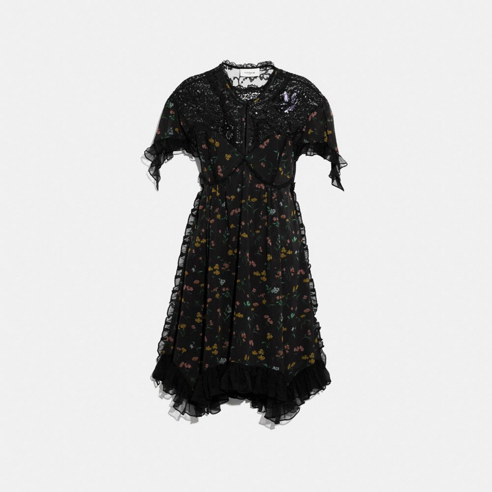 COACH FOREST FLORAL PRINTED BABY DOLL DRESS