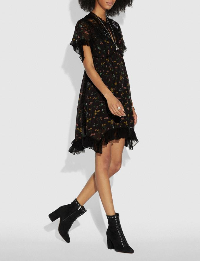 Coach Forest Floral Print Baby Doll Dress Black  Alternate View 1