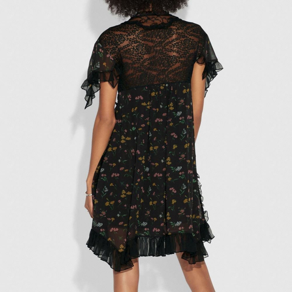 Coach Forest Floral Print Baby Doll Dress Alternate View 2