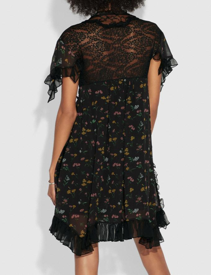 Coach Forest Floral Print Baby Doll Dress Black  Alternate View 2