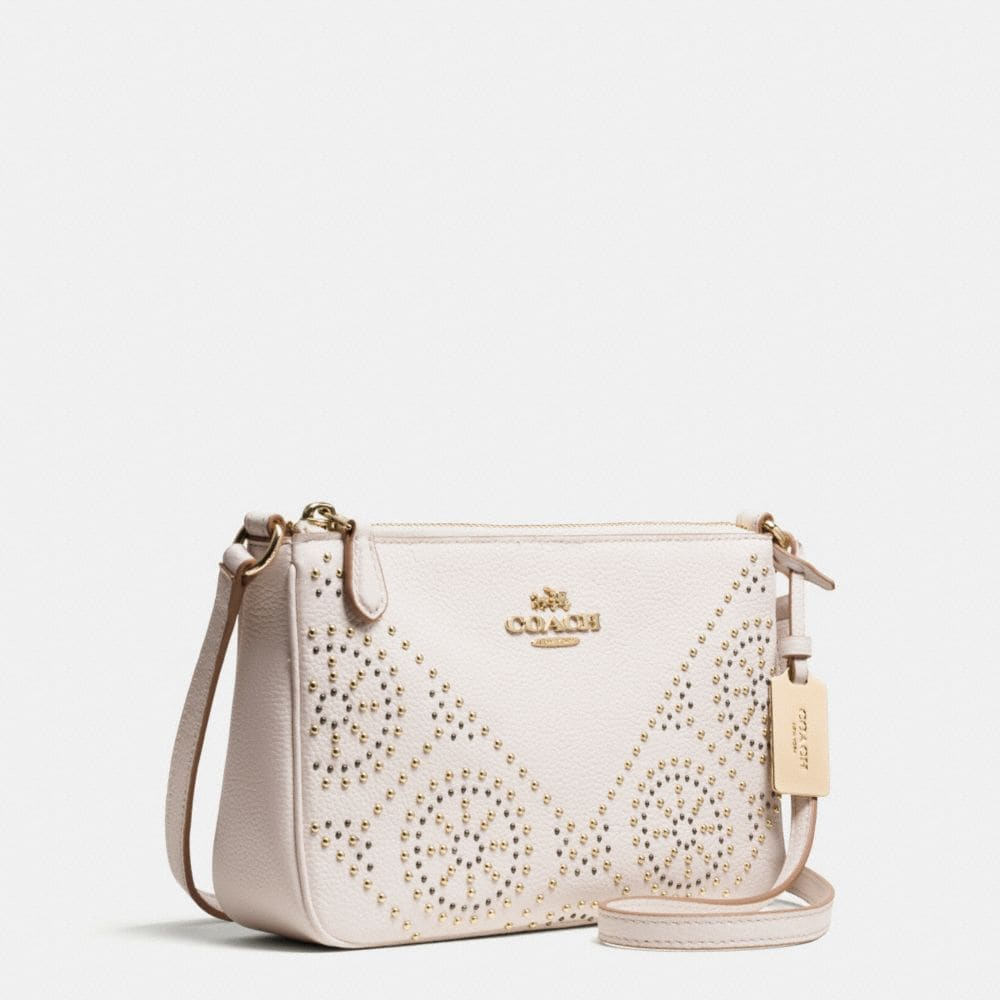 MINI STUDS ZIP TOP CROSSBODY IN PEBBLE LEATHER - Alternate View A2