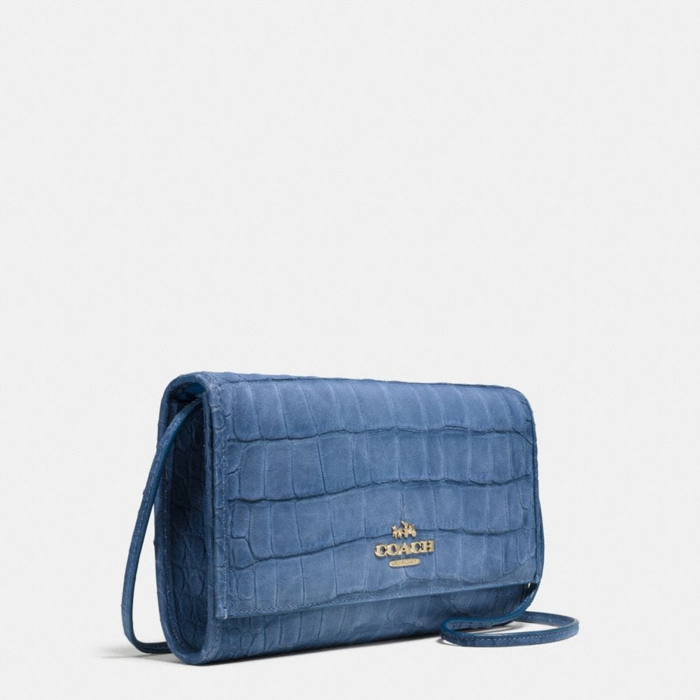Downtown Clutch in Croc Embossed Denim Leather - Alternate View A2