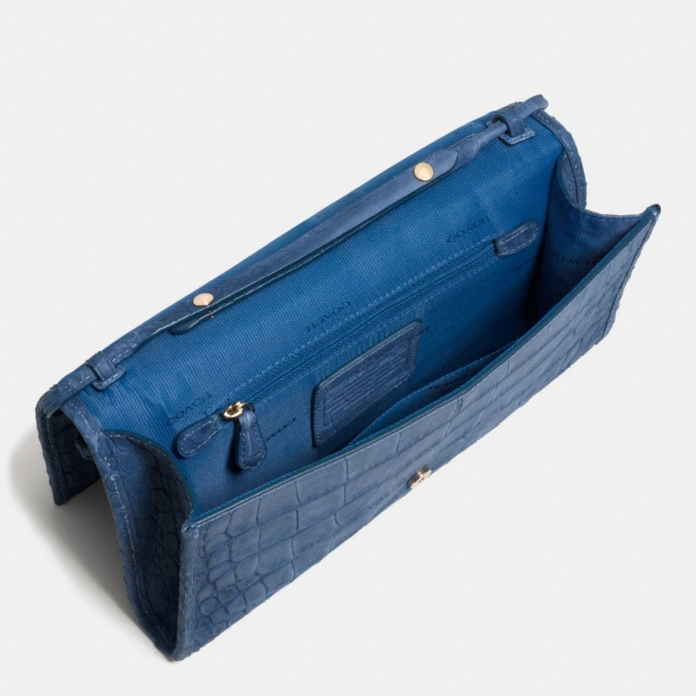 Downtown Clutch in Croc Embossed Denim Leather - Alternate View A3