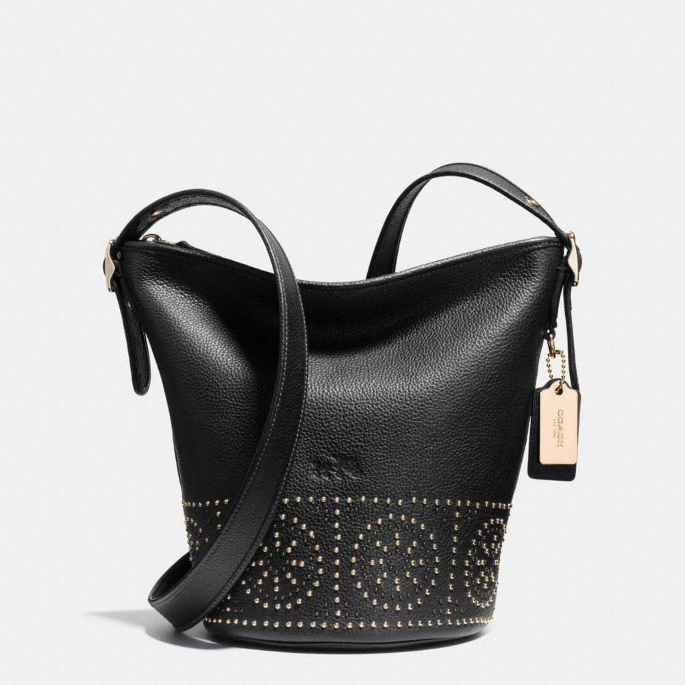 Mini Studs Mini Duffle Shoulder Bag in Pebble Leather