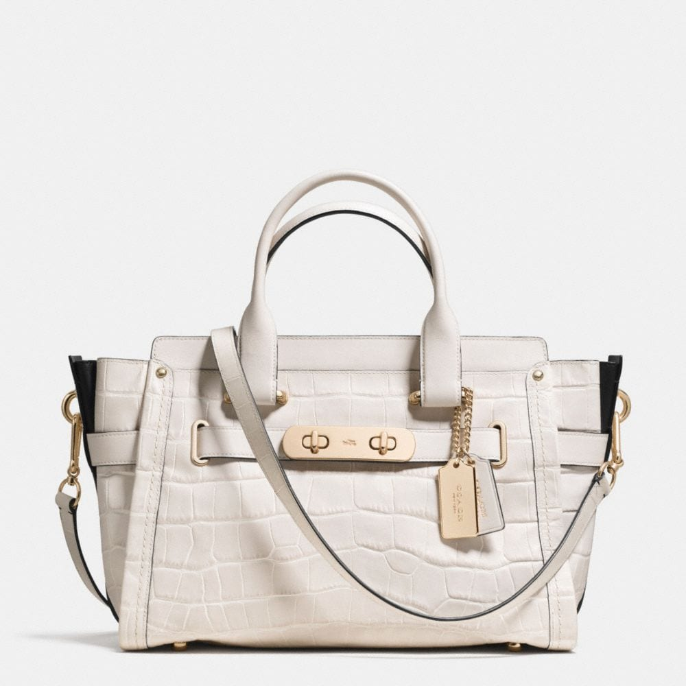 COACH SWAGGER IN CROC EMBOSSED LEATHER