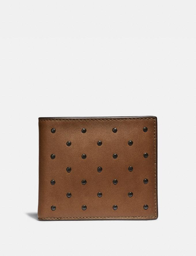 Coach Double Billfold Wallet With Rivets Saddle Men Wallets