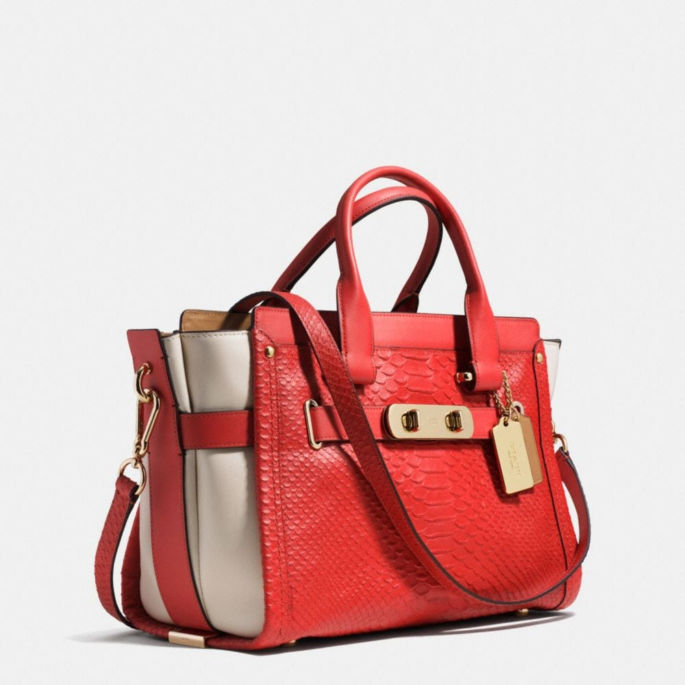 COACH SWAGGER IN COLORBLOCK PYTHON EMBOSSED LEATHER - Alternate View A2