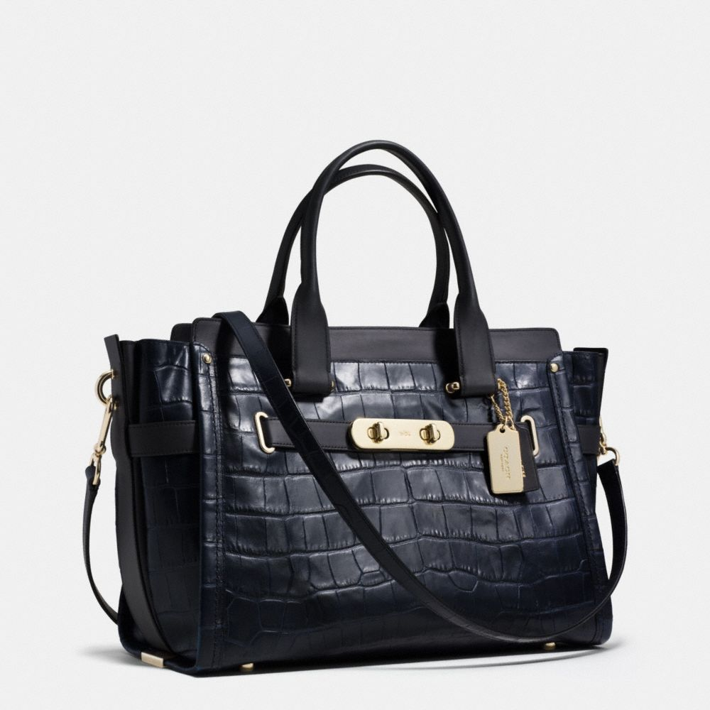 Coach Swagger 37 in Croc Embossed Leather  - Alternate View A2