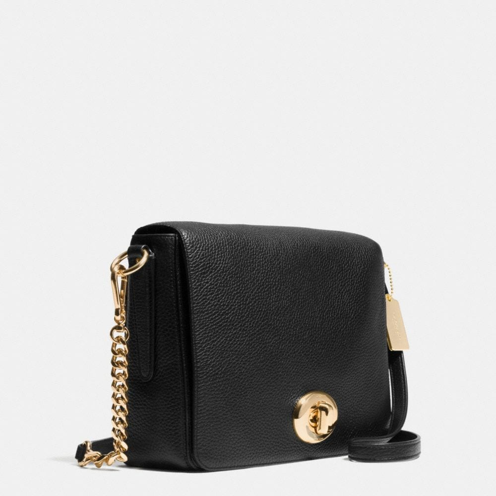 TURNLOCK SHOULDER FLAP BAG IN PEBBLE LEATHER - Alternate View A2