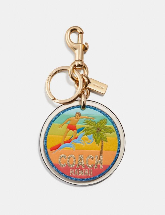 Coach Hawaii Bag Charm Chalk/Gold Women Accessories Bag Charms & Key Rings