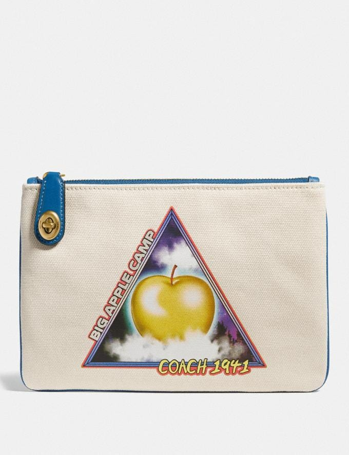 Coach Turnlock Pouch 26 With Sci Fi Big Apple Camp Print B4/Chalk Women Small Leather Goods Wristlets