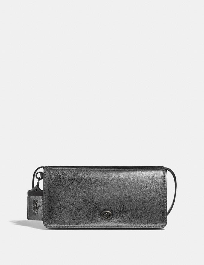 Coach Dinky Metallic Graphite/Pewter Women Bags Clutches