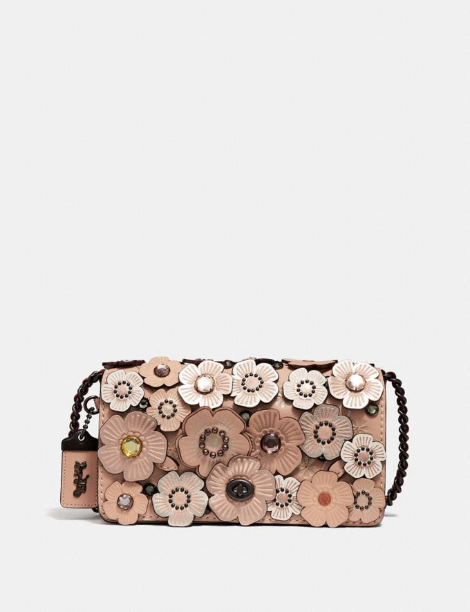 Coach Dinky With Crystal Tea Rose Nude Pink/Pewter Women Bags Crossbody Bags