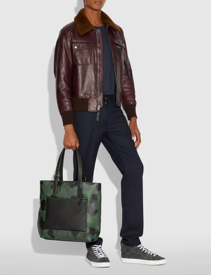 Coach Metropolitan Soft Tote With Wild Beast Print Military/Black Copper Finish SALE Men's Sale Bags Alternate View 3