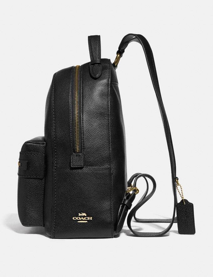 Coach Campus Backpack Black/Light Gold Women Bags Backpacks Alternate View 1