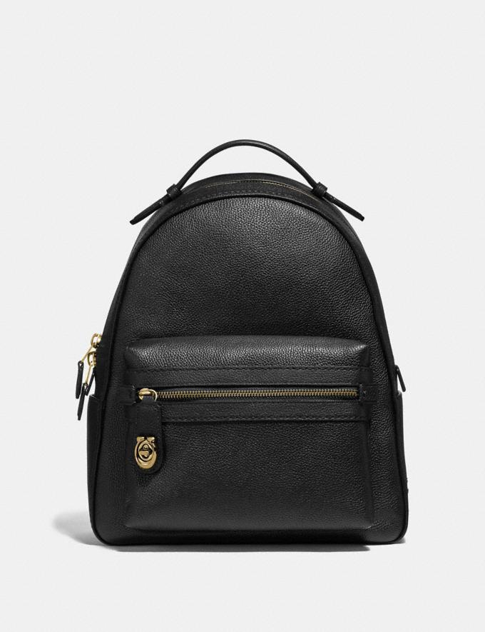 Coach Campus Backpack Black/Light Gold New Women's New Arrivals View All