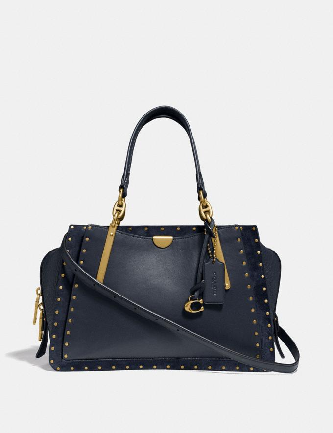 Coach Dreamer With Rivets Midnight Navy/Brass Women Bags Satchels & Carryalls