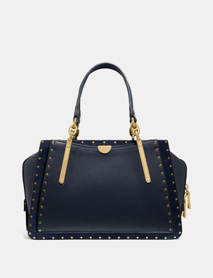Coach Dreamer With Rivets Midnight Navy/Brass Women Bags Satchels & Carryalls Alternate View 2