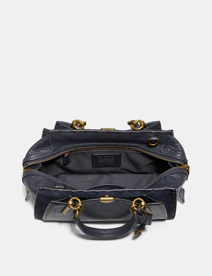 Coach Dreamer With Rivets Midnight Navy/Brass Women Bags Satchels & Carryalls Alternate View 3