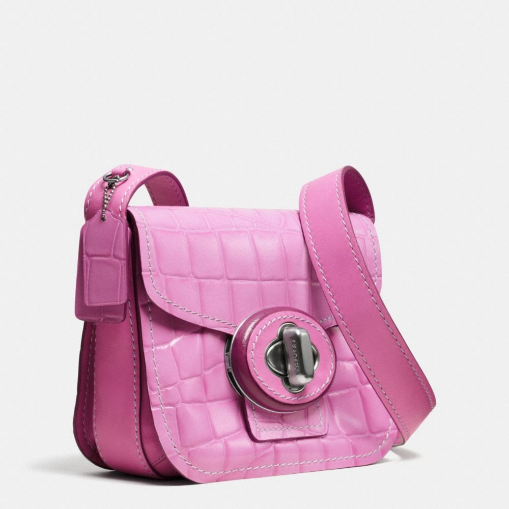 Drifter Shoulder Bag in Croc Embossed Patent Leather - Alternate View A2