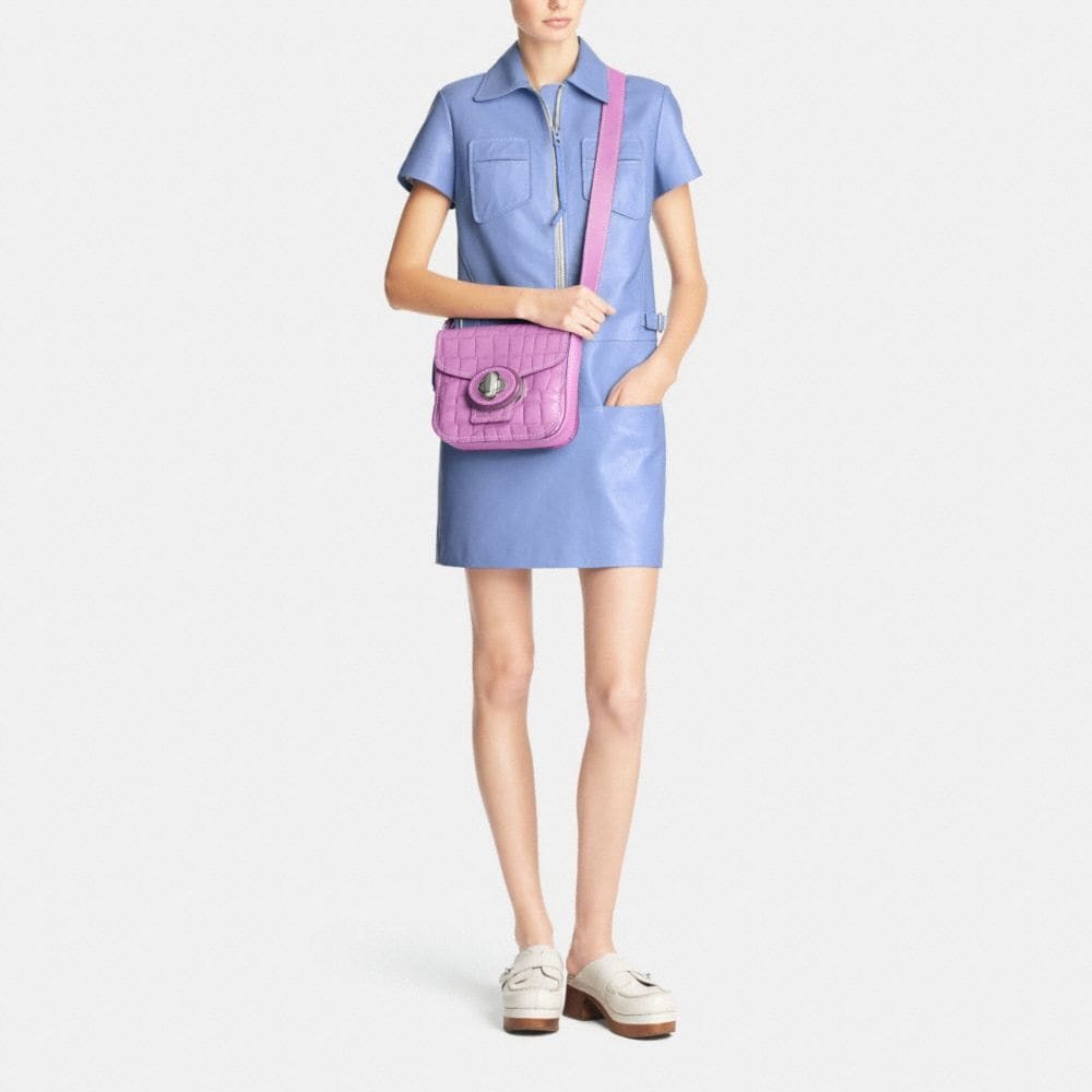 Drifter Shoulder Bag in Croc Embossed Patent Leather - Alternate View M