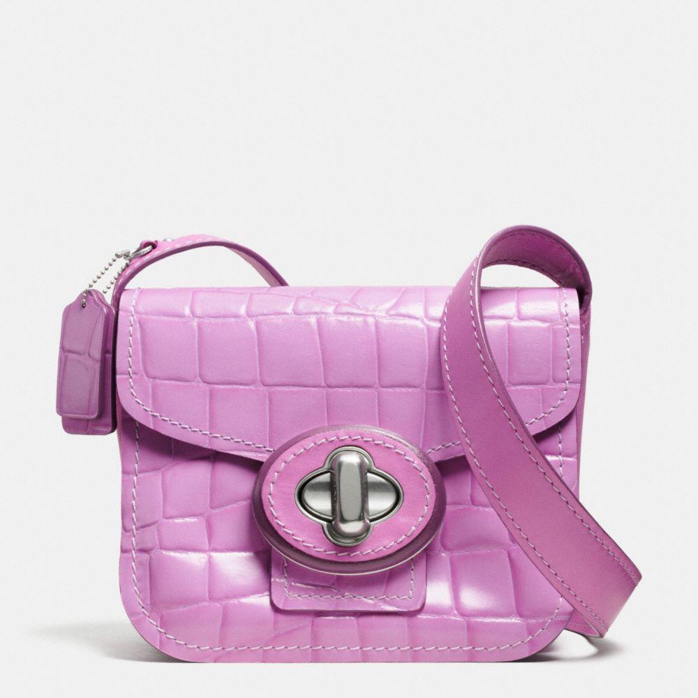 Drifter Shoulder Bag in Croc Embossed Patent Leather
