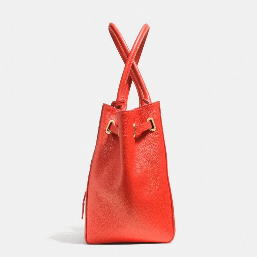 Turnlock Tie Small Tote in Refined Pebble Leather - Alternate View A1