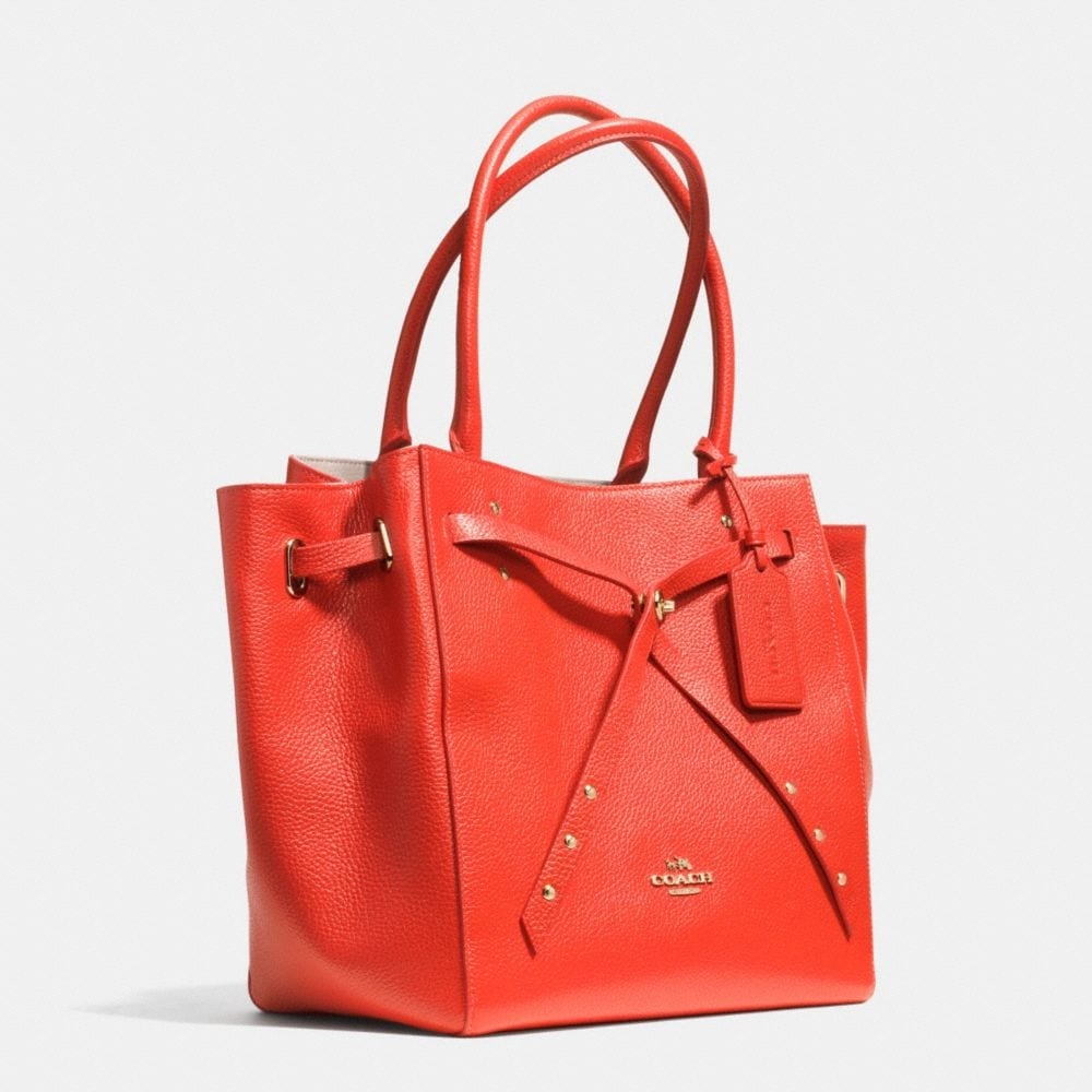 Turnlock Tie Small Tote in Refined Pebble Leather - Alternate View A2