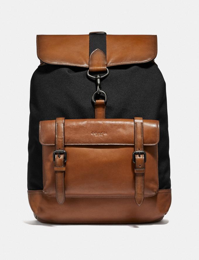 Coach Bleecker Backpack Black/Saddle/Black Copper Finish Men Bags Backpacks