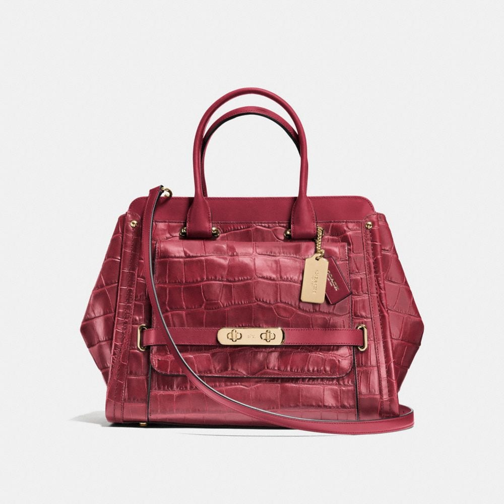 Coach Swagger Frame Satchel in Croc Embossed Leather