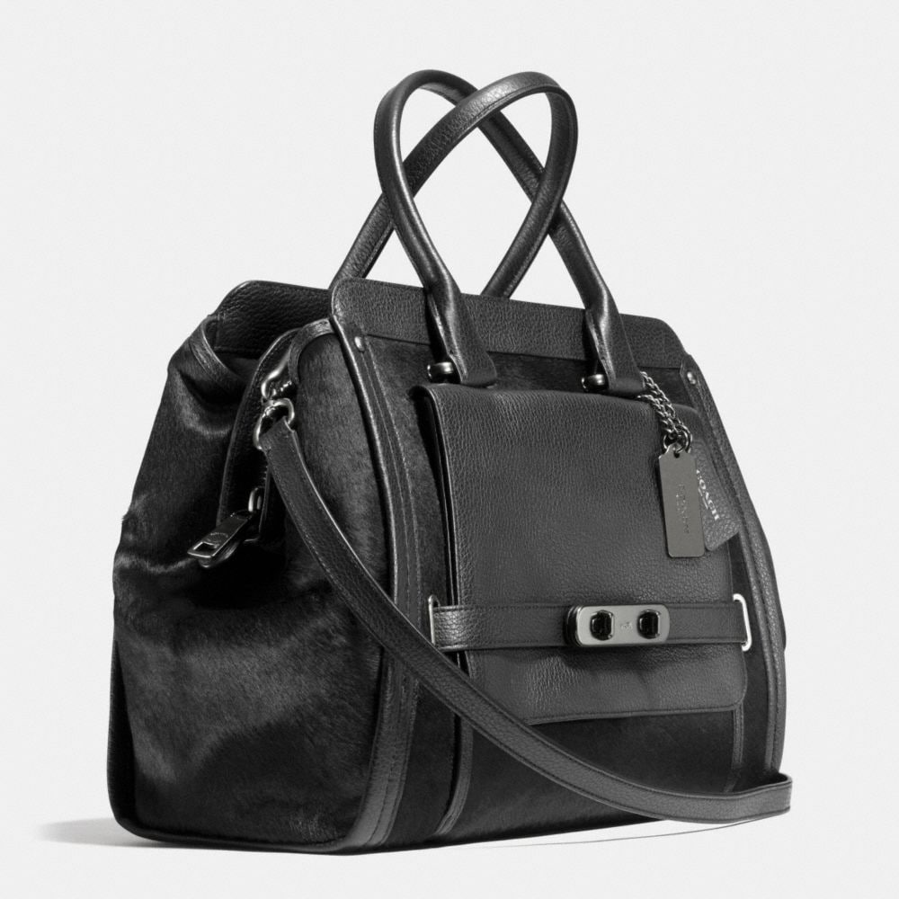 Coach Swagger Frame Satchel in Haircalf - Alternate View A2