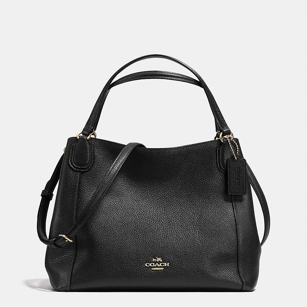 Coach Edie Shoulder Bag 28 In Pebble Leather Light Gold/Black ...