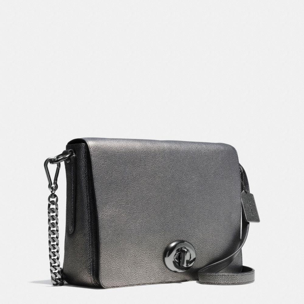 Turnlock Shoulder Flap Bag in Metallic Pebble Leather - Alternate View A2