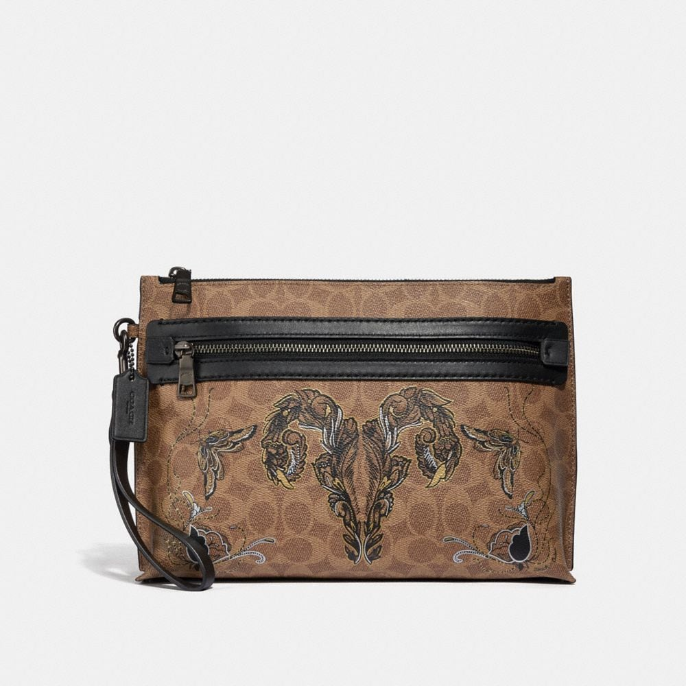 Coach Academy Pouch in Signature Canvas With Tattoo
