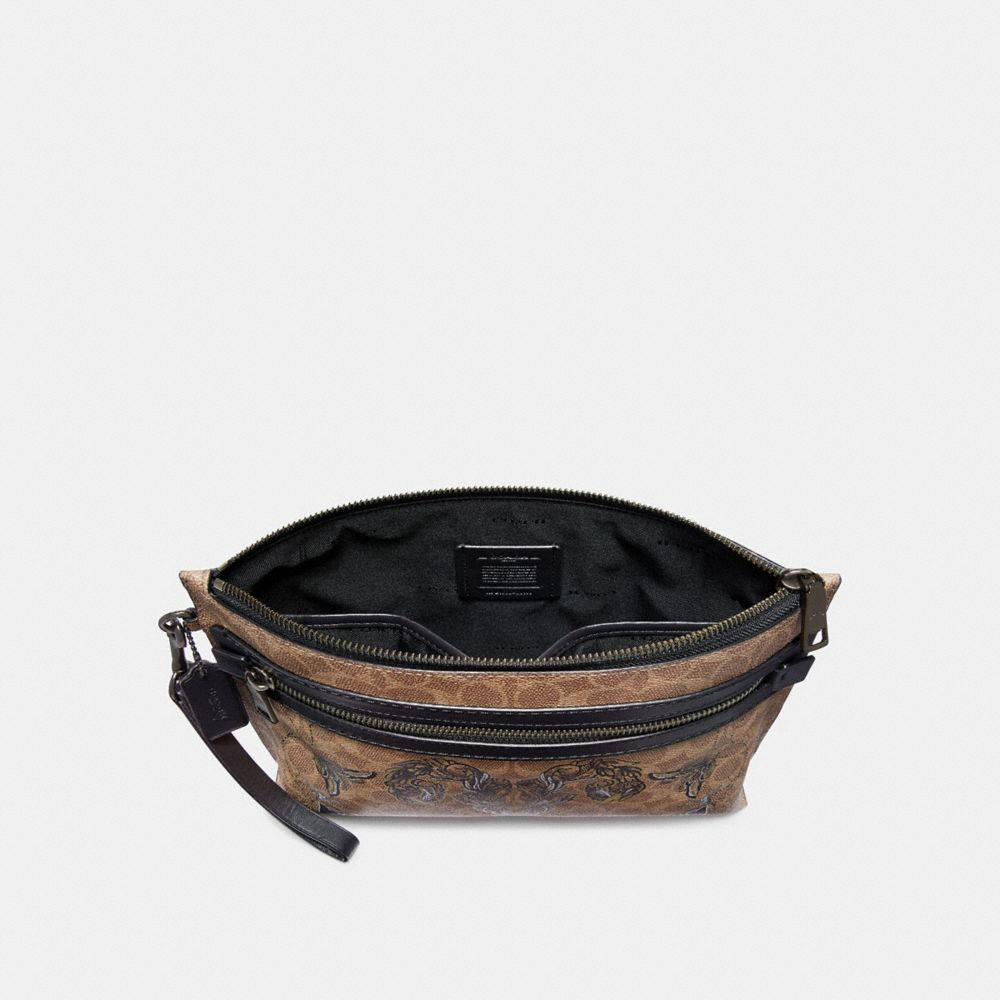Coach Academy Pouch in Signature Canvas With Tattoo Alternate View 1