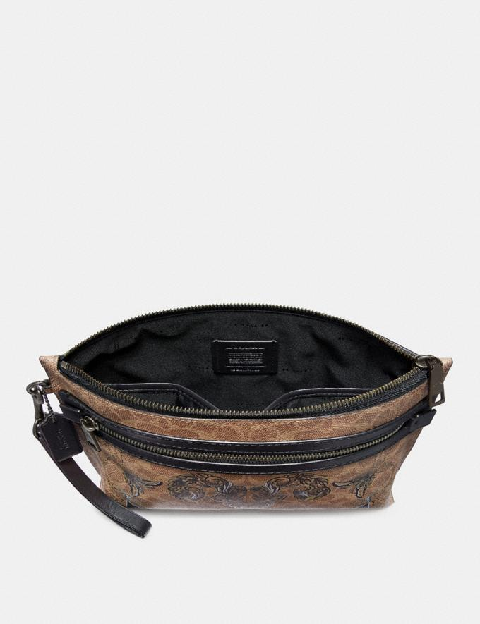 Coach Academy Pouch in Signature Canvas With Tattoo Khaki Women Collection Signature Alternate View 1