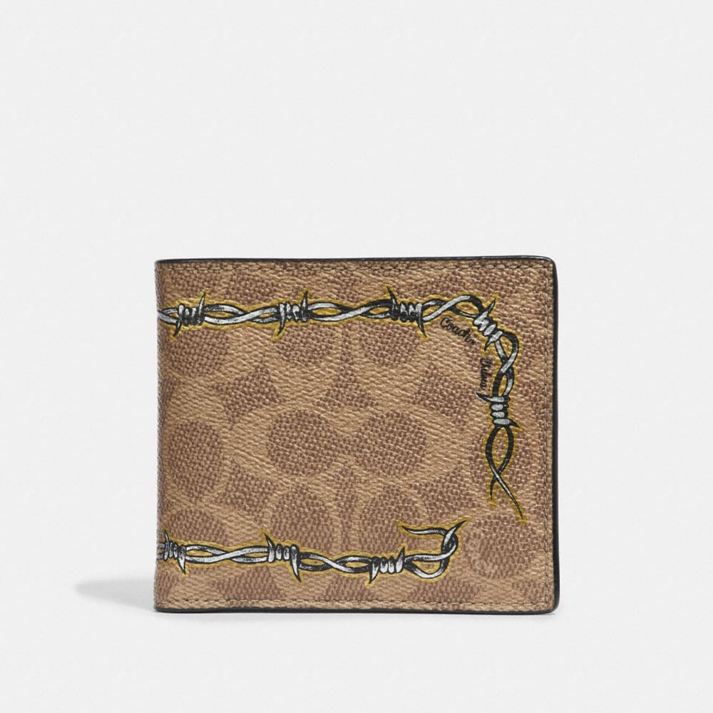 Coach Double Billfold Wallet in Signature Canvas With Tattoo