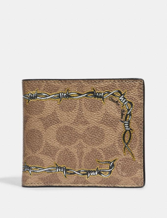 Coach Double Billfold Wallet in Signature Canvas With Tattoo Khaki Men Wallets