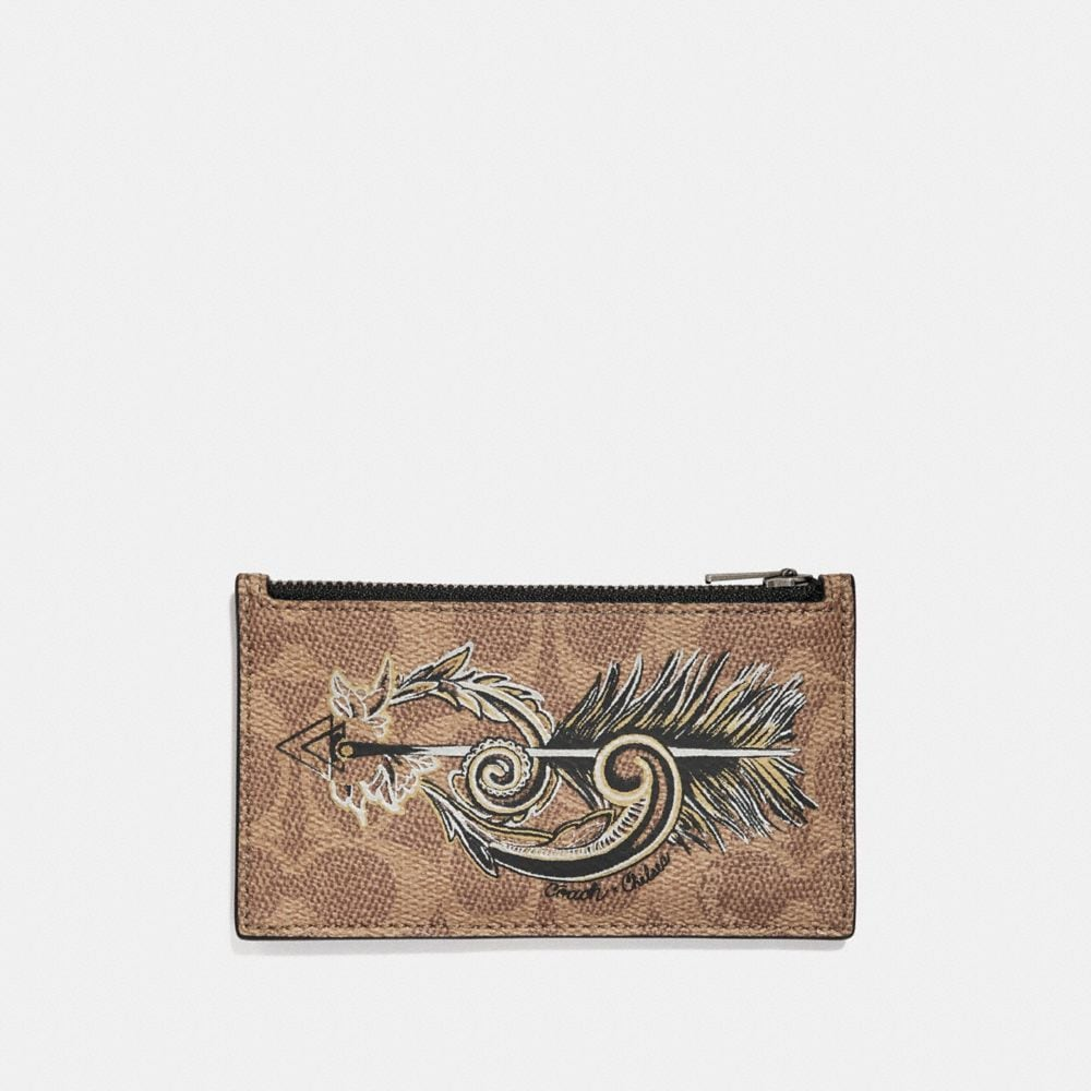 Coach Zip Card Case in Signature Canvas With Tattoo