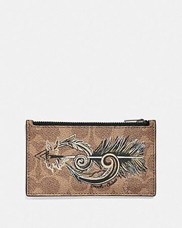 Mens card cases coach zip card case in signature canvas with tattoo reheart Image collections
